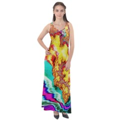 Fractal Mandelbrot Art Wallpaper Sleeveless Velour Maxi Dress