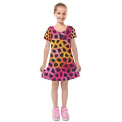 Mosaic Structure Pattern Background Kids  Short Sleeve Velvet Dress