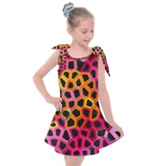 Mosaic Structure Pattern Background Kids  Tie Up Tunic Dress