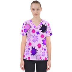 Inks Drops Black Paint Design Women s V Neck Scrub Top