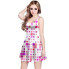 Square Pattern Colorful Reversible Sleeveless Dress