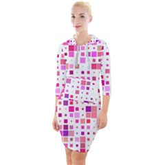 Square Pattern Colorful Quarter Sleeve Hood Bodycon Dress by AnjaniArt