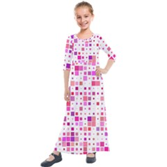 Square Pattern Colorful Kids  Quarter Sleeve Maxi Dress by AnjaniArt