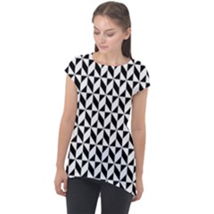 Seamless Abstract Geometric Pattern Cap Sleeve High Low Top by AnjaniArt