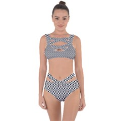 Seamless Abstract Geometric Pattern Bandaged Up Bikini Set