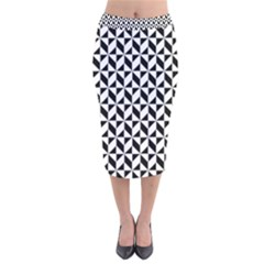 Seamless Abstract Geometric Pattern Velvet Midi Pencil Skirt
