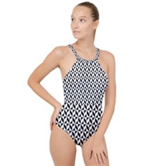 Seamless Abstract Geometric Pattern High Neck One Piece Swimsuit