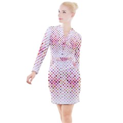 Square Pattern Background Repeat Button Long Sleeve Dress