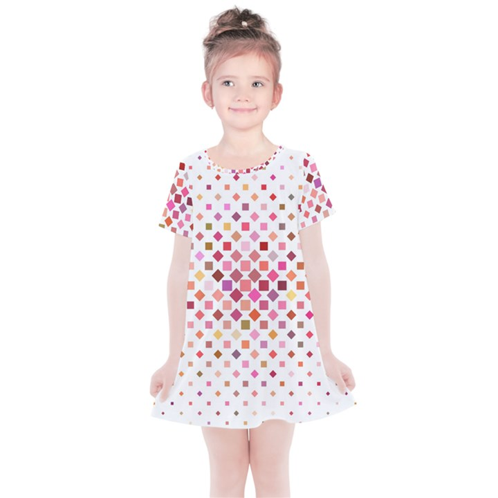 Square Pattern Background Repeat Kids  Simple Cotton Dress