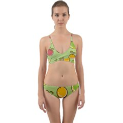 Seamless Fruit Wrap Around Bikini Set
