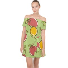 Seamless Fruit Off Shoulder Chiffon Dress