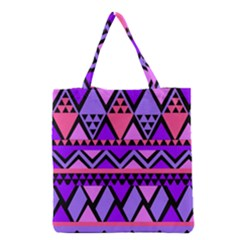Seamless Purple Pink Pattern Grocery Tote Bag by AnjaniArt