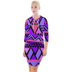 Seamless Purple Pink Pattern Quarter Sleeve Hood Bodycon Dress by AnjaniArt