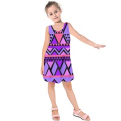 Seamless Purple Pink Pattern Kids  Sleeveless Dress by AnjaniArt