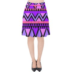 Seamless Purple Pink Pattern Velvet High Waist Skirt