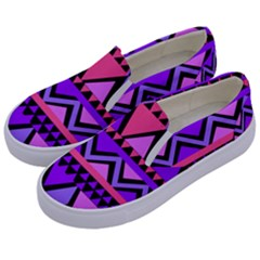Seamless Purple Pink Pattern Kids  Canvas Slip Ons by AnjaniArt