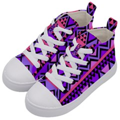 Seamless Purple Pink Pattern Kids  Mid Top Canvas Sneakers by AnjaniArt