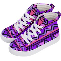 Seamless Purple Pink Pattern Kids  Hi Top Skate Sneakers by AnjaniArt