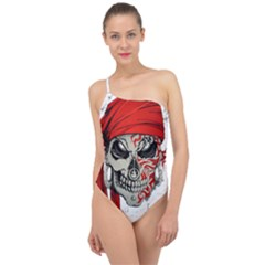 Skull Classic One Shoulder Swimsuit by AnjaniArt