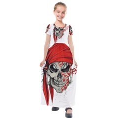 Skull Kids  Short Sleeve Maxi Dress by AnjaniArt