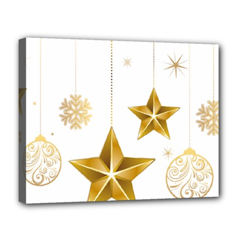 Star Christmas Ornaments Canvas 14  X 11  (stretched)