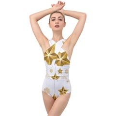 Star Christmas Ornaments Cross Front Low Back Swimsuit by AnjaniArt
