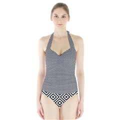 Square Diagonal Concentric Pattern Halter Swimsuit by AnjaniArt
