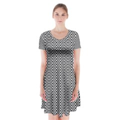 Square Diagonal Concentric Pattern Short Sleeve V Neck Flare Dress by AnjaniArt