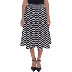 Square Diagonal Concentric Pattern Perfect Length Midi Skirt by AnjaniArt