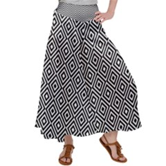 Square Diagonal Concentric Pattern Satin Palazzo Pants by AnjaniArt