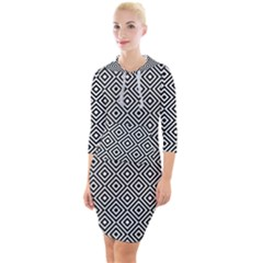 Square Diagonal Concentric Pattern Quarter Sleeve Hood Bodycon Dress