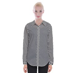 Square Diagonal Concentric Pattern Womens Long Sleeve Shirt