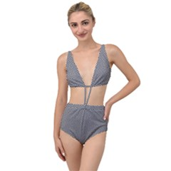 Square Diagonal Concentric Pattern Tied Up Two Piece Swimsuit