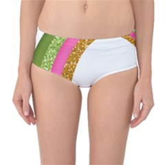 Rainbow Cartoon Illustration Mid Waist Bikini Bottoms by AnjaniArt