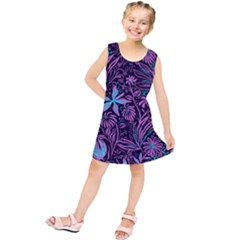 Stamping Pattern Leaves Kids  Tunic Dress by AnjaniArt