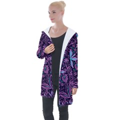 Stamping Pattern Leaves Longline Hooded Cardigan by AnjaniArt