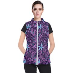 Stamping Pattern Leaves Women s Puffer Vest