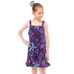 Stamping Pattern Leaves Kids  Overall Dress by AnjaniArt