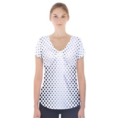 Square Rounded Background Short Sleeve Front Detail Top