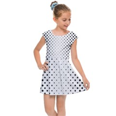 Square Rounded Background Kids  Cap Sleeve Dress