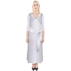 Square Rounded Background Quarter Sleeve Wrap Maxi Dress