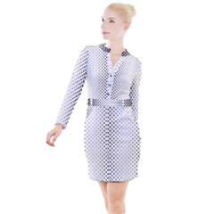 Square Rounded Background Button Long Sleeve Dress