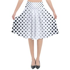 Square Rounded Background Flared Midi Skirt