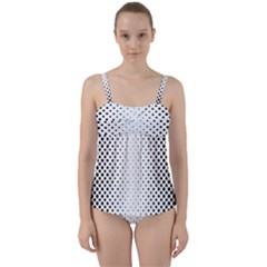 Square Rounded Background Twist Front Tankini Set
