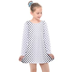 Square Rounded Background Kids  Long Sleeve Dress