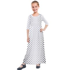 Square Rounded Background Kids  Quarter Sleeve Maxi Dress