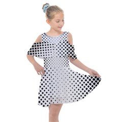 Square Rounded Background Kids  Shoulder Cutout Chiffon Dress