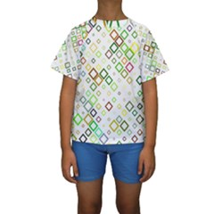Square Colorful Geometric Style Kids  Short Sleeve Swimwear by Alisyart