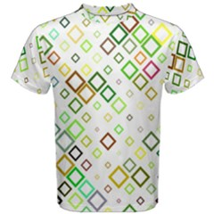Square Colorful Geometric Style Men s Cotton Tee