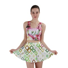 Square Colorful Geometric Style Mini Skirt
